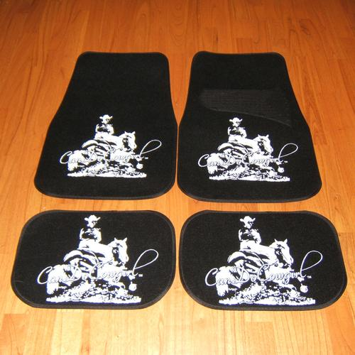 Black Upholstered CanDoCowgirl Floor Mats (Set of 4)